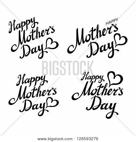 Set Happy Mother's Day Greeting Card. Black Calligraphy Inscription.