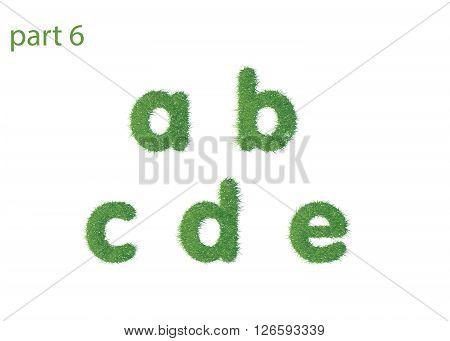 Small letter a b c d e texture green grass vector illustration