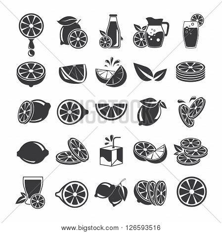 collection of 25 orange icons, lemon icons