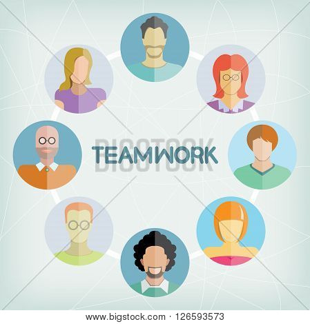business peple teamwork concept in blue background