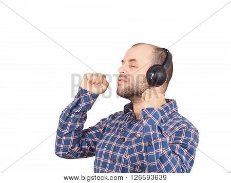 Men In Headphones Listens To Music And Sings.