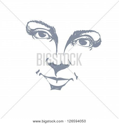 Facial expression hand-drawn illustration of face of a girl with positive emotional expressions. Beautiful features of lady visage.
