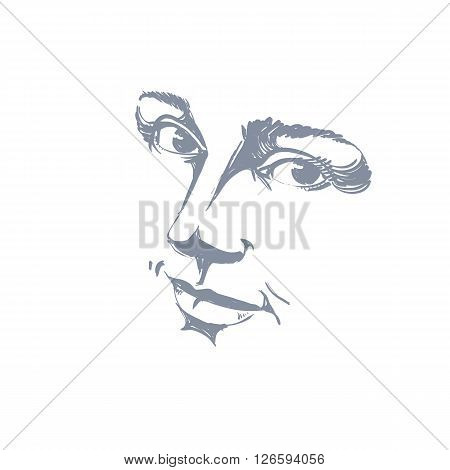 Hand-drawn monochrome portrait of delicate good-looking dreamy still woman black and white vector drawing. Emotional expressions idea image face features.