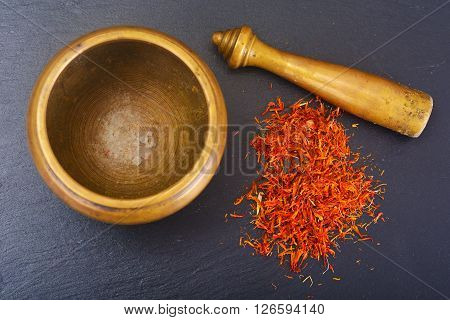 Seasoning for cooking healthy food: Saffron. Studio Photo