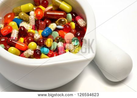 various pills in a mortar