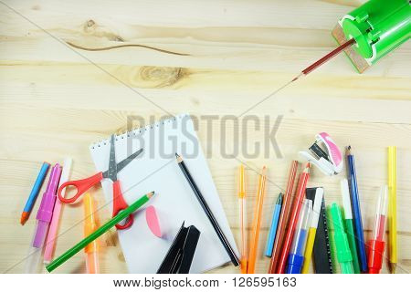 The image of school stationery