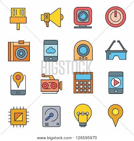 collection of 16 gadget and electronic device icons color theme