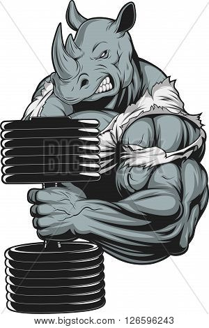Vector illustration a ferocious rhino athlete doing exercise for biceps with dumbbells