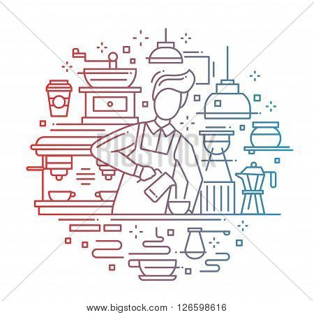 Illustration of vector modern line flat design composition with male barista making and serving cofee at the cafe counter - color gradient