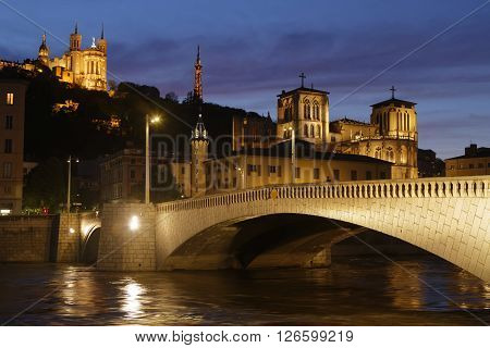 LYON FRANCE - April 19 2016 : Blue hour on Saone river and the Historic districts of Lyon designated a UNESCO World Heritage Site in 1998.