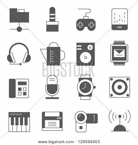 collection of 16 gadget and electronic device icons solid theme