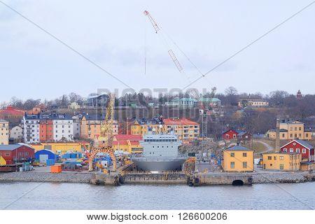 The image of shipyard in Stockholm, Sweden