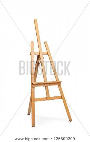 Vertical shot of an empty brown easel isolated on white background