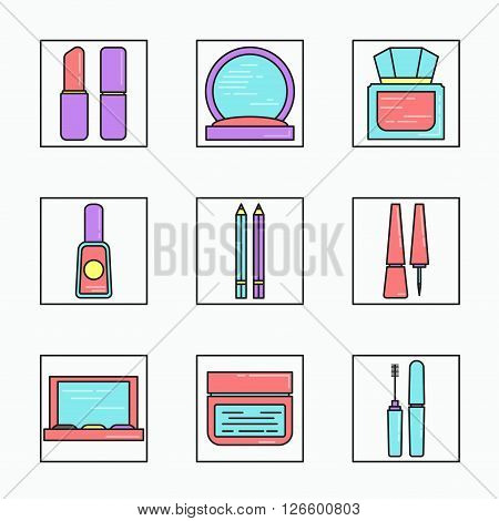 Lineart cosmetics vector icons set. Mascara, gloss, lipstick, rouge, eye liner, shadows. Pink blue purple colors.