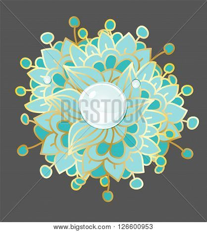 beautiful background with flower pattern turquoise colors at black background with a drop Rossy, can be used as logo, vector decorative pattern, flower