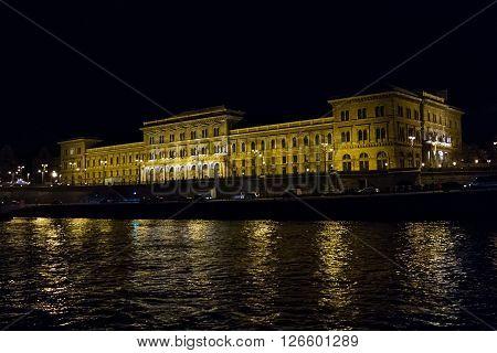 Beautiful pictures of the night Corvinus University. Budapest Hungary .