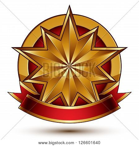 Complicated vector golden design element with polygonal decorative star and red curvy ribbon. 3d luxury medallion