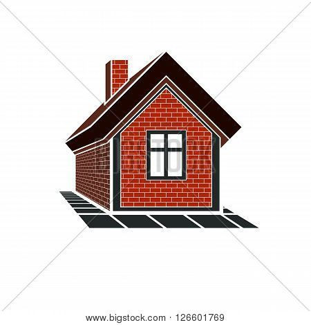 Country house constructed with red bricks real estate. Creative home vector symbol can be used in advertising and home insurance business.