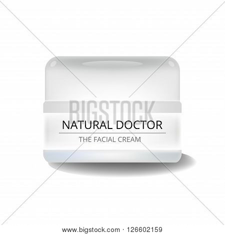 Realistic white cosmetic cream container. Mockup jar. Gel powder or balsam with design label. Container mockup.