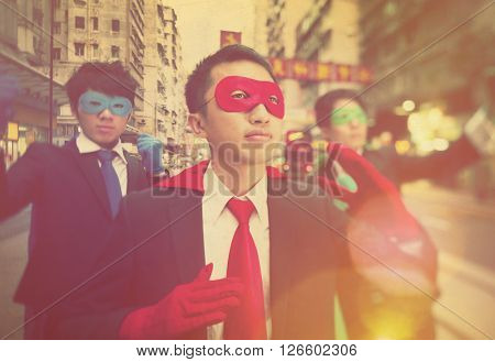 Chinese Ethnicity Business Superheroes Concept