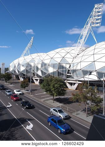 Melbourne Australia -April 17 2016: AAMI Park Soccer and Rugby Stadium at Swan Street Melbourne