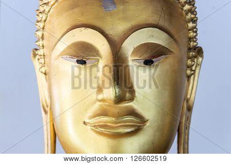 Phitsanulok, Thailand - January 03, 2016: Face Of Buddha Statue Inside Wat Phrasimahathat Phitsanulok Province Thailand.