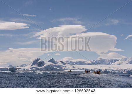 Icebergs in Antarctica beatiful day for cruise
