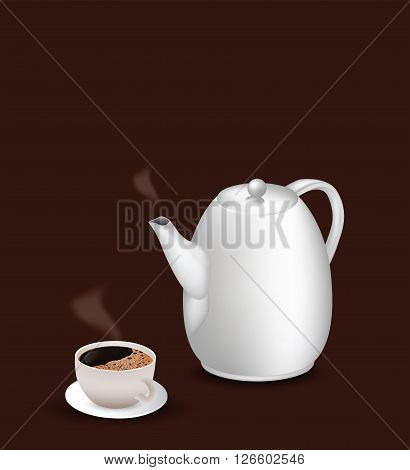 Coffee pot and white cup of coffee for your design