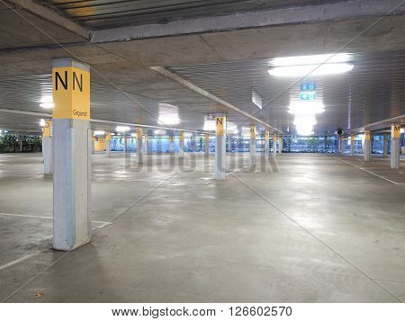 Deserted underground concrete car park Melbourne 2016