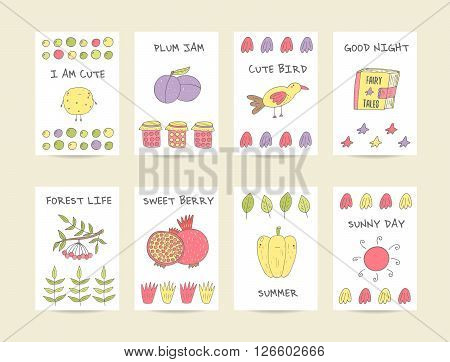 Cute hand drawn doodle baby shower cards brochures invitations with cookie plum bird granade pepper jam sun pomegranate viburnum fairy tale book stars. Cartoon objects animals background