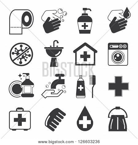 collection of 16 hygiene icons solid theme