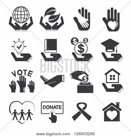 collection of 16 donation icons solid theme