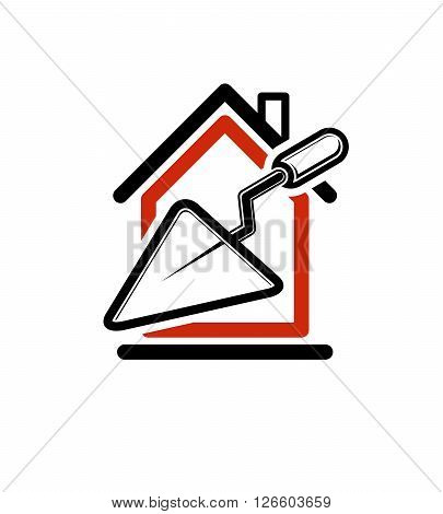 Spatula icon build materials. House with work tools. Home reconstruction idea repair team stylized vector symbol.