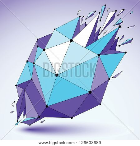 Vector dimensional blue wireframe object demolished shape with refractions and wreckage. 3d mesh technology element broken into pieces.