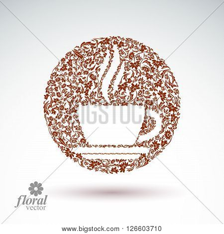 Flower-patterned cup of coffee with aromatic steam. Rendezvous theme floral vector illustration.
