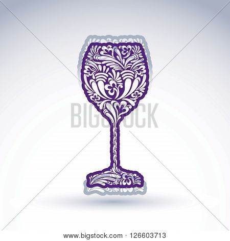 Stylized flower-patterned goblet isolated on white backdrop alcohol drink theme illustration. Elegant decorative wineglass with shadow romantic vector design element.