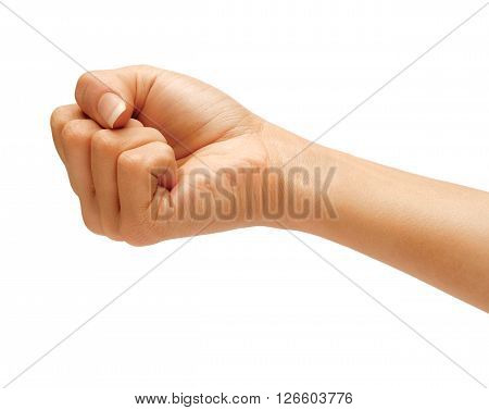 Hand with closed fist isolated on white background Riot protest concept. High resolution product. Close up