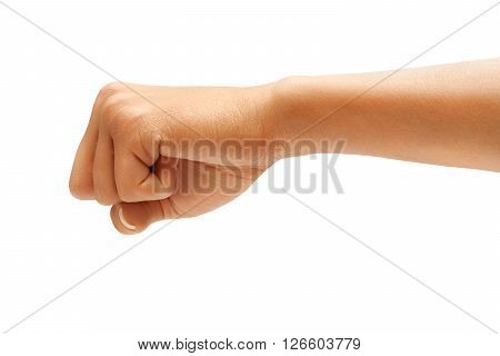 Hand with clenched a fist isolated on white background Riot protest concept. High resolution product. Close up