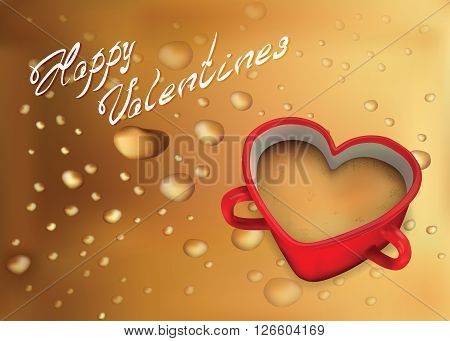 Valentine's Day with odor coffee in a beautiful cup for your design