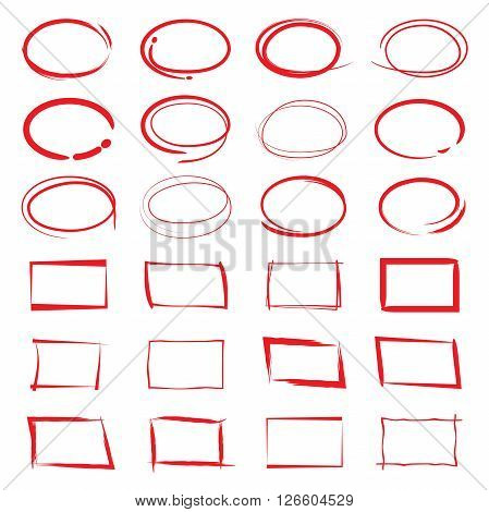 collection of design elements red circle markers
