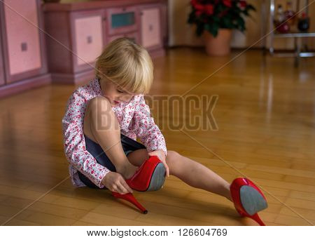 child with big shoes