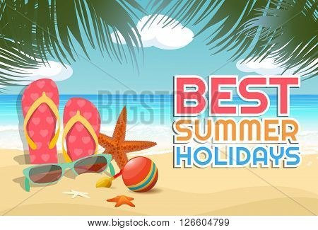 Tropical summer vacation retro background with starfish, beach ball, glasses, tranquil sea, white sand beach, trees and text. File is layered with global colors.