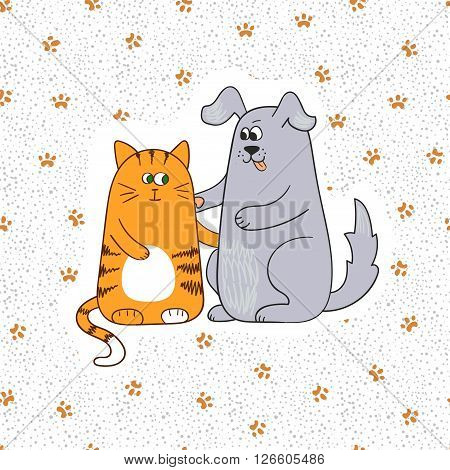 Cute cat and dog. Doodle vector illustration. Paws print background.
