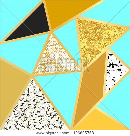 Abstract geometric background in blue, black, white, gold and glitter. Stylish abstract composition for posters, cards, cover design.