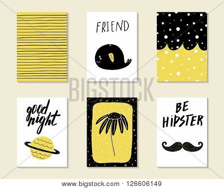 Cute hand drawn doodle birthday party baby shower cards brochures invitations with whale planet saturn mustache flower stripes circles. Cartoon objects background.