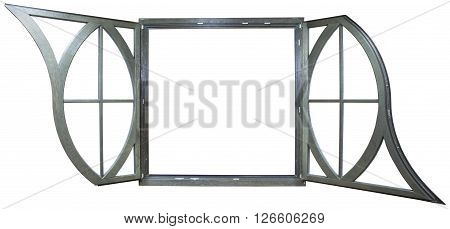 round window wooden house with glass on a white background