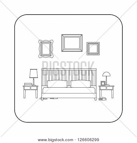 Bedroom line interior with furniture. Vector thin illustration of bedroom.