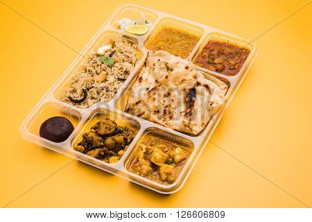 indian vegeterian food thali ready for home delivery