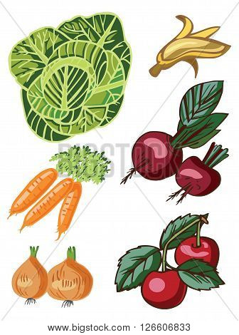 vegetables and fruits on white background beet banana cherry onion carrot cabbage