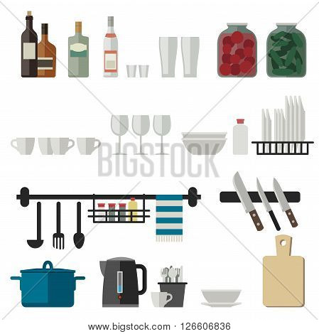 Kitchenware flat icons. Vector illustration of cooking utensils.
